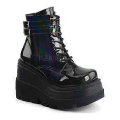 412479dd841a Demonia Women s Shaker 52 Ankle Boot Black Hologram (US Women s 9 (Wms 9) M  (Medium)) (leather)