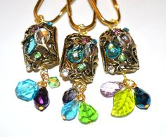 Jewel Shower Curtain Hooks Floral Faceted Gems In Turquoise Aqua Blue Peridot GreenLavender Purple Antique Gold
