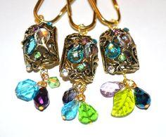 Merveilleux Jewel Shower Curtain Hooks, Floral Shower Curtain Hooks, Faceted Gems In  Turquoise/Aqua