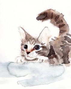 Pouncing Kitten watercolor print Cat art 8x10 or 4x6