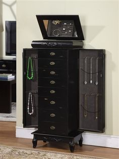 Tall Black Wooden Jewelry Cabinet Armoire 8 Large Drawers & Necklace Side Doors | eBay