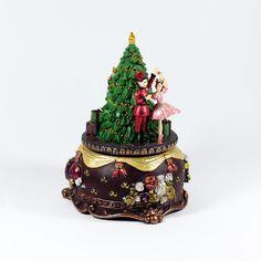 Natal / Caixas de Musica - Quebra-Nozes e Bailarina ao lado da Árvore de Natal - Bau da Cravus