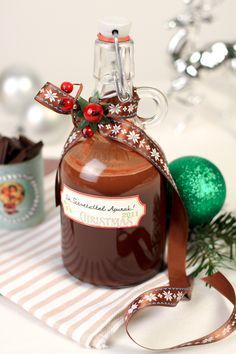 Homemade Christmas Gifts, Xmas Gifts, Homemade Gifts, Christmas Diy, Christmas Bulbs, Christmas Things, How To Make Drinks, Gourmet Gifts, Hungarian Recipes