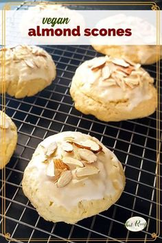 Vegan Almond Scones are a rich buttery flaky treat with loads of almond flavor. Great for breakfast, dessert or tea time #fallflavors #almondscones #veganscones #teapartyrecipe #vegandessert
