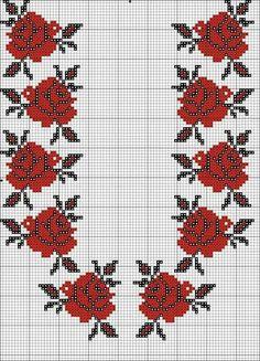 Kırmızı gül Cross Stitch Borders, Cross Stitch Rose, Cross Stitch Flowers, Cross Stitch Designs, Cross Stitch Patterns, Beaded Embroidery, Cross Stitch Embroidery, Embroidery Patterns, Hand Embroidery