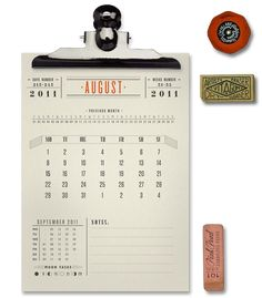 VINTAGE TYPOGRAPHIC CALENDAR on Behance