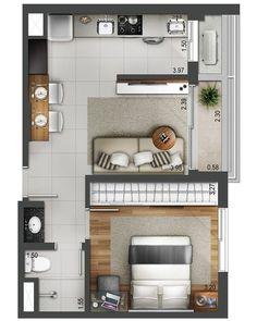 Over 100 small studio apartment layout design ideas - home design , Studio Apartment Floor Plans, Studio Apartment Layout, Small Apartment Plans, Studio Layout, Apartment Ideas, Small Apartment Layout, Small House Layout, Single Apartment, Studio Floor Plans