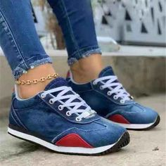 2021 Women's Sneakers With Platform Womens Shoes Casual Woman Basket Shoes Tennis Female Thick Woman's Summer Trainers Moda Sneakers, Low Top Sneakers, Denim Sneakers, Denim Shoes, Up Shoes, Wedge Sneakers, Sneakers Fashion, Casual Shoes, Shoes Tennis