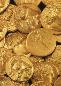 A treasure of 51 Macedonian gold coins (and a necklace) hidden inside a cavity in the rock in Ancient Corinth.