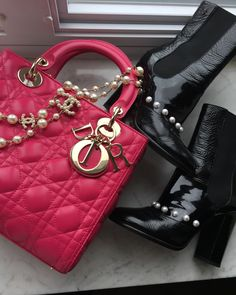Lady Dior bag, Chanel Pearl boots and Pearl necklace