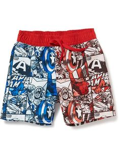 Marvel Comics™ Captain America Swim Trunks for Baby Product Image Little Boy Outfits, Baby Boy Outfits, Kids Outfits, Boys Swimwear, Swimsuits, Captain America Shirt, Marvel Kids, Champion Clothing, Baby Swimsuit