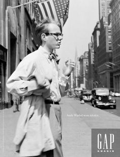 "One of my favorite ad campaigns of all time -- Gap, 1993 ""Andy Warhol wore khakis. Andy Warhol Museum, Gap Ads, Club Kids, Street Culture, American Artists, Fashion History, Pop Art, Khakis, Celebrities"