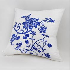 Flower embroidered throw pillow Blue and white porcelain cushions Chinese style