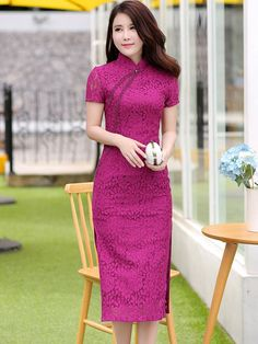 Midi Lace Qipao / Cheongsam Party Dress with Beads Cheongsam Modern, Chinese Gown, Satin Dresses, Gowns, Cheongsam Dress, Chinese Clothing, Oriental Fashion, Ao Dai, Traditional Dresses
