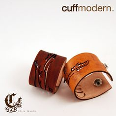 $45 interesting burnt pastoral designs on these leather cuffs. From Ponko, where you design an item and they make it to your specifications