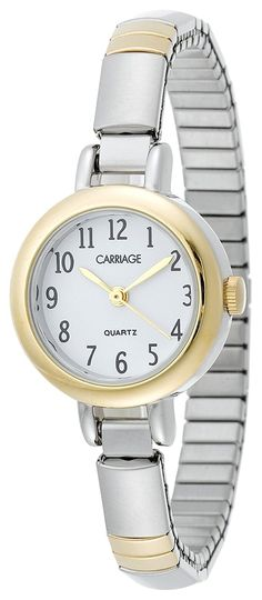 Carriage Women's Glod-Tone Round Case White Dial Small Two-Tone Stainless Steel Expansion Band Watch: This watch, made by Timex has the manufacturer part number of and the UPC of is known as: Timex Carriage Womens Two Tone Expansion Band Watch - Timex Watches, Rose Gold Watches, Vintage Watches, Cool Watches, Fashion Watches, Bracelet Watch, Quartz, Stainless Steel, Band