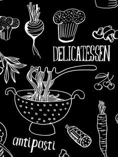 Bikas Delicatessen by Beetroot Design Group Bathroom Tile Stickers, Food Menu Design, Wall Drawing, Food Backgrounds, Chalk Drawings, Chalkboard Art, Chalk Art, Food Illustrations, Artisanal