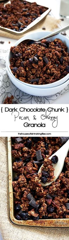 Healthy Chocolate Granola Recipe | Homemade, Dark Easy, Vegan, Cereal, Gluten Free, Clean, Cherry