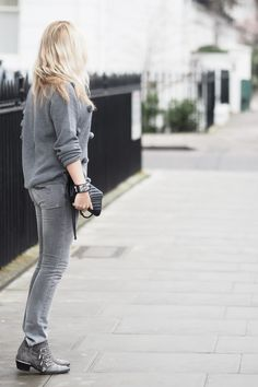 Rag and Bone grey jeans, & Other Stories pom pom jumper, Chloe Susanna boots, Saint Laurent chevron bag and a Hermes CDC Cuff http://www.chouquette.co.uk/pom-pom-de-knit/