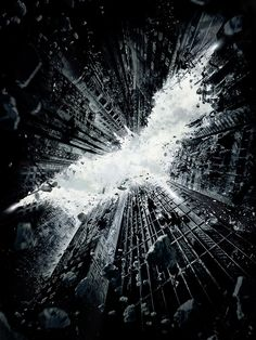 Exploding buildings @s Batman logo