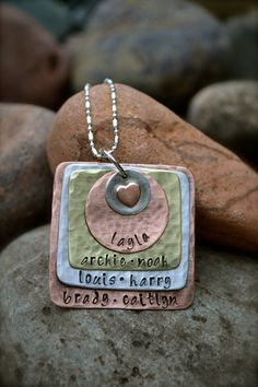 Family Mixed Metal Stamped Necklace