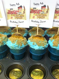 cupcakes  Jake and the Neverland Pirates 4th birthday party.