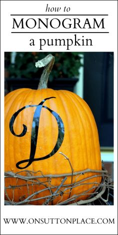 Fall decor using monogrammed pumpkins and kale. Includes the link to the vinyl letter!