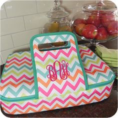 Insulated Casserole Carriers   We are so excited to introduce the newest prints in Casserole Carriers. These fun and funky carriers will keep your dishes hot or cold all the way to any event.  Handle makes embroidery simple and has velcro to keep handles securely closed.