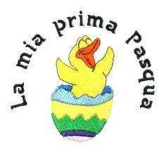 Embroidered in USA.PERSONALIZED FREE. BIB $8 BURP CLOTH $9  http://www.burpsbibsandbeyond.com/Item/La-Mia-Prima-Pasqua-Bib