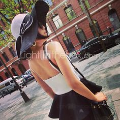 Women Straw Color Block Bow Floppy Hat,Cute / Party / Casual Spring / Summer…