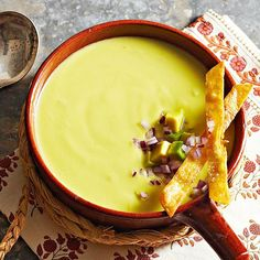 Avocado Soup -- this calls for chicken broth but you could just use veg. broth to keep it vegetarian.