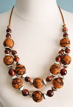 Felted wool necklace cognac brown necklace felted bead by LSFelts