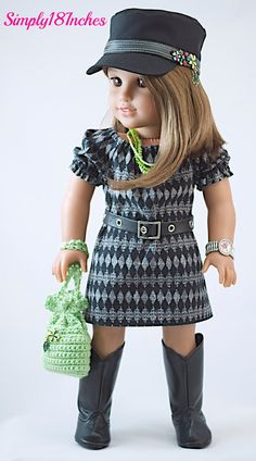 18 Inch American Girl Doll Clothing. Modern Dress, Patrol Cap, Purse And Jewelry