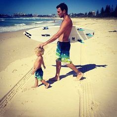 Joel Parkinson and his son in matching boardies! Too cute!