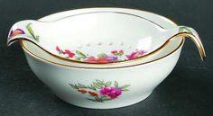 crownstaffordshire dresden spray tea strainer bowl
