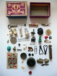 matchbox and contents.  There are few things better than a box of tiny treasures.