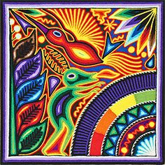 Huichol Yarn Paintings & Art for Sale - Mexican Yarn Art South American Art, Yarn Painting, Middle School Art, Arte Popular, Mexican Folk Art, Native Art, Fabric Art, Art Google, Handmade Art