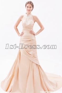 1st-dress.com Offers High Quality Champagne Sheath High Neck Wedding Dresses with Low Back,Priced At Only US$198.00 (Free Shipping)