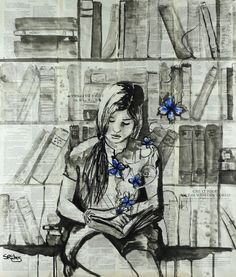 "Saatchi Online Artist: Sara Riches; Ink 2013 Painting ""Lost In Words"" #art #read #books #butterfly"