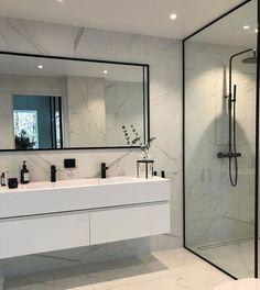 Modern Scandinavian Bathroom Interior in white - interior design ideas and . - Modern Scandinavian Bathroom Interior in White – Interior Design Ideas – moercar – Modern Sca - Modern Bathroom Design, Bathroom Interior Design, Bathroom Designs, Modern Bathrooms, Small Bathrooms, Bath Design, Dream Bathrooms, Modern Master Bathroom, Simple Bathroom