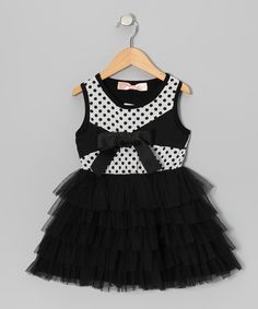 Black & White Polka Dot Tiered Tulle Dress