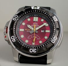 Orient M-Force red from Yeoman's Watch Review | Tough times don't last. Tough watches do. Rugged Watches, Watches For Men, Luxury Watches, Rolex Watches, Tough Times Dont Last, Orient Watch, Affordable Watches, Vintage Watches, Seiko