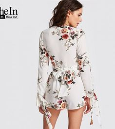 SheIn Casual Crop Top and Shorts Set White Floral Print Bow Tie V Neck Long Sleeve Blouse With Elastic Waist Shorts