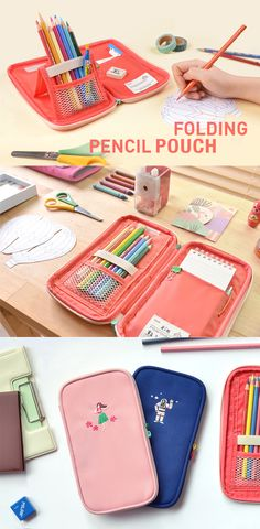 I know it's annoying to waste time to scramble around in your pencil pouch to find the pen you want! Say goodbye to the past and say hello to the Folding Pencil Pouch! You can stand your pens, and also you can lay it flat for easier access to the items inside. Not only is this functional, but also super cute! The two-tone colored zipper and lovely embroidery on the front will steal you heart in a second! This well-made pencil pouch will be a great gift idea for your kids and for yourself…