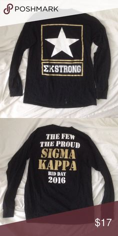 Sigma Kappa Long Sleeve Bid Day 2016 Army themed long sleeve Tee with metallic writing. Paint stain visible at the bottom front of shirt from sorority crafting  size medium, this is a tagless shirt so there is no sizing written on the inside.                           • I have a couple SigKap shirts available so be sure to bundle! • great gifts for littles  Sigma Kappa Tops Tees - Long Sleeve