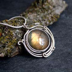 Autumn moon labradorite elvin flow pendant (£150) ❤ liked on Polyvore featuring jewelry, pendants, charm pendant, orange jewelry, pendant jewelry, sterling silver jewellery and sterling silver jewelry