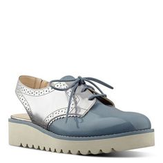 Blue Suede and Silver Metallic Wendey Slingback Oxfords | Nine West