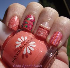 Base Coat: CND - Stickey  Base Colour: Natural Collection - Antique Coral  Stamp Colour: Rimmel White    Index Finger: Plate Konad M64,    Middle Finger: Flowers Painted With Acrylic Paint  Gold Dots: H - Wa Wa Woom    Ring Finger: Rimmel French Colour For Half Moon  Pearls: Bought From The Pound Shop  Plate: Bundle Monster BM16, Little Finger: Lines Drawn With White Paint  Glitter: Nail Art Pen - Ebay