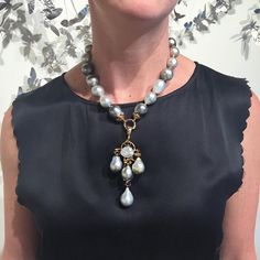 Elegant baroque pearls meet an Italian Renaissance revival right here in Jackson Hole with Lucifer Vir Honestus' summer trunk show {white and grey baroque pearl necklace set with 18kt rose gold} #italian #hautejoaillerie #pearl #necklace #trunkshow #jhdreaming #lucifervirhonestus #tayloepiggottjewelry