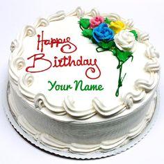 Pretty Vanilla Round Shape Birthday Cake With Your Name Maker Writing